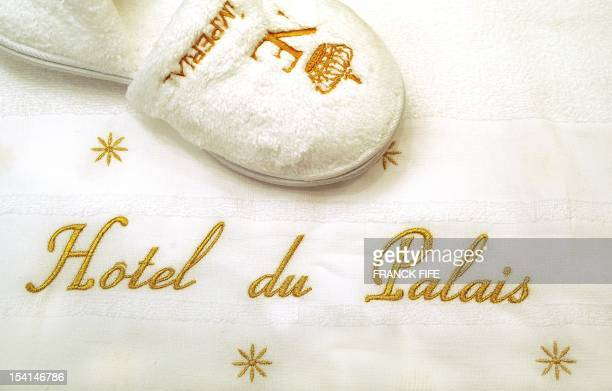 A picture taken on June 15 shows the cotton slippers in a bathroom of the luxury hotel 'Hotel du Palais' in Biarritz Southwestern France This hotel...
