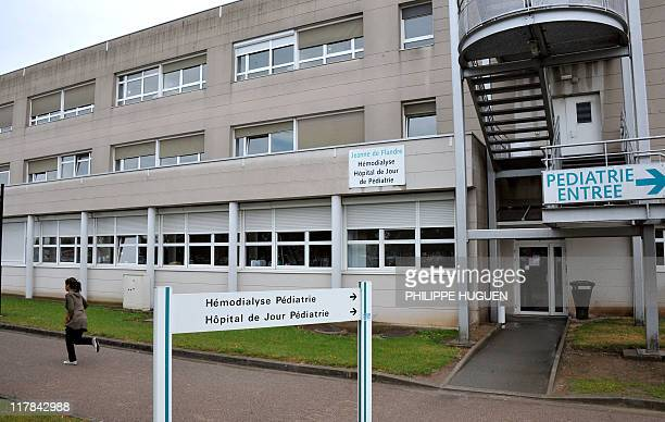 A picture taken on June 16 2011 in the northern French town of Lille shows the entrance of the hospital Jeanne de Flandre where six children were...