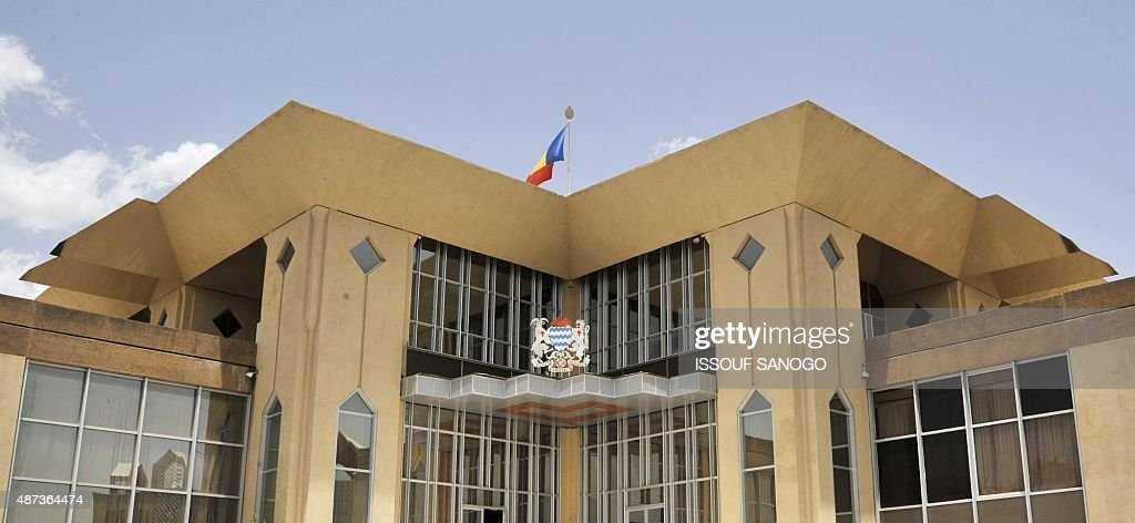 A picture taken on June 18 2013 shows the presidential palace with the coat of arms in the Chadian capital Ndjamena AFP PHOTO / ISSOUF SANOGO