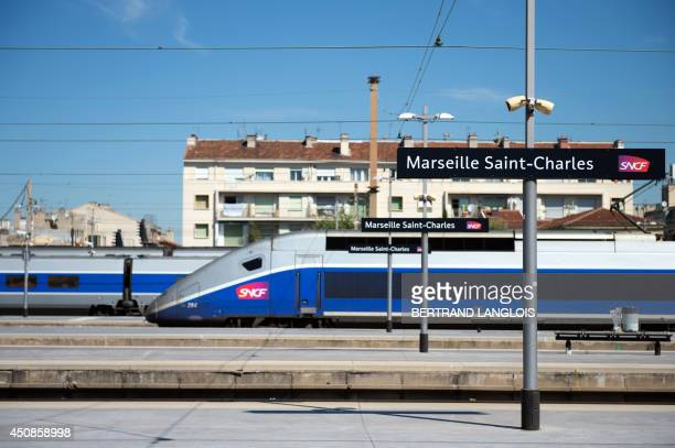 A picture taken on June 19 2014 in Marseille southern France shows trains and platforms at the SaintCharles railway station during a national strike...
