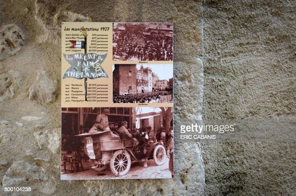A picture taken on June 19 2017 shows a memorial plaque in Argeliers home town of Marcelin Albert cafe owner and winegrower regarded as one the...