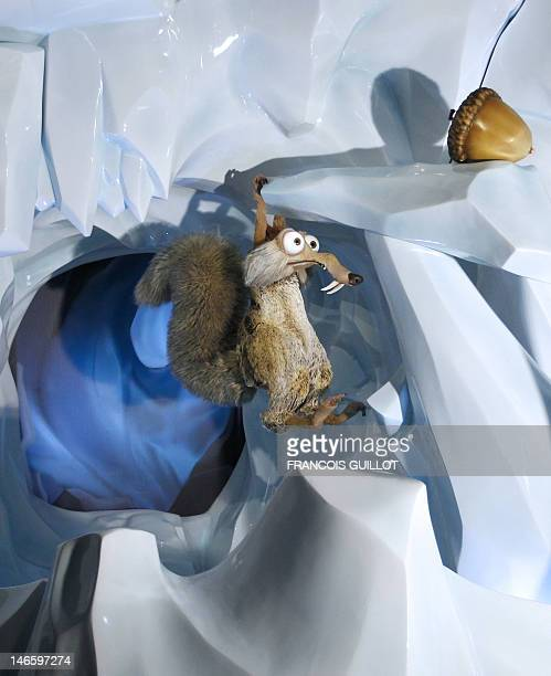 A picture taken on June 20 2012 shows the effigy of the US animation films 'Ice Age' character Scrat the sabretoothed squirrel with its acorn at the...