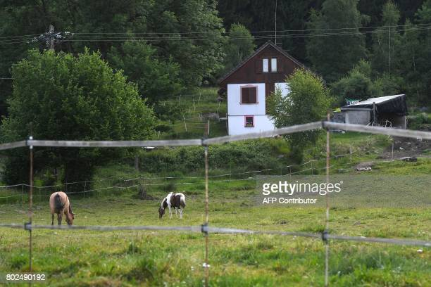 A picture taken on June 21 2017 shows Murielle Bolle's house in GrangessurVologne eastern France Bolle is the sister in law of Bernard Laroche who...