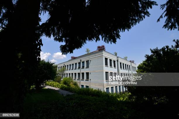 A picture taken on June 21 2017 shows the headquarters of FrancoSwiss cement giant LafargeHolcim in Jona 35 km from Zurich / AFP PHOTO / Fabrice...