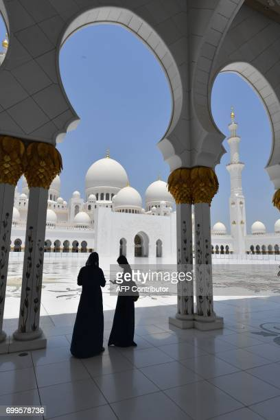 A picture taken on June 21 shows the Sheikh Zayed Grand Mosque in Abu Dhabi United Arab Emirates CACACE