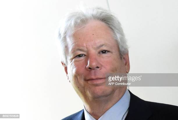 Picture taken on June 22 2014 shows US economist Richard Thaler after he was awarded the 2014 Global Economy Prize during the award ceremony in Kiel...