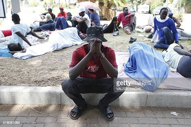 A picture taken on June 22 2015 in Ventimiglia near the ItalianFrench border post shows the makeshift camp set up by a group of migrants that has...