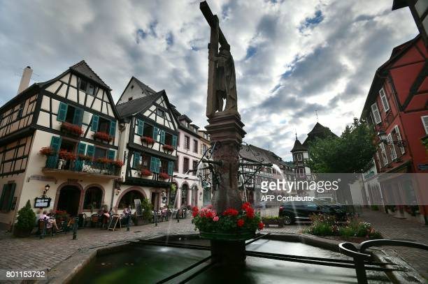 A picture taken on June 25 2017 shows the Kaysersberg village in Alsace region eastern France / AFP PHOTO / PATRICK HERTZOG