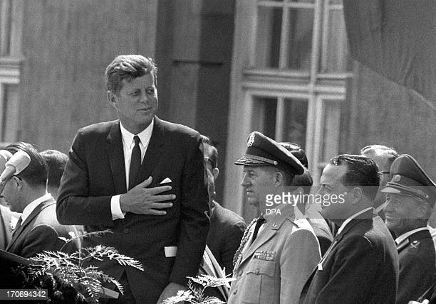 Picture taken on June 26 1963 shows then US President John F Kennedy giving a speech at the Schoeneberg city hall in Berlin where he said his famous...