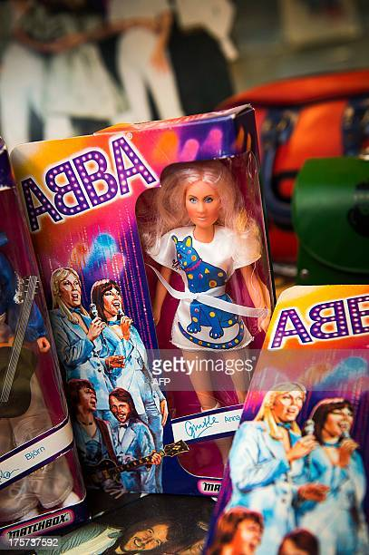 Picture taken on June 26 2013 shows dolls of the members of the legendary Swedish pop group Abba are some of the memorabilia items that are to be...