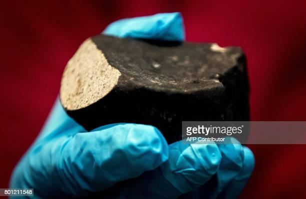 A picture taken on June 26 2017 shows a scientist from science museum Naturalis in Leiden showing a meteorite type L6 chondrite which came down on...