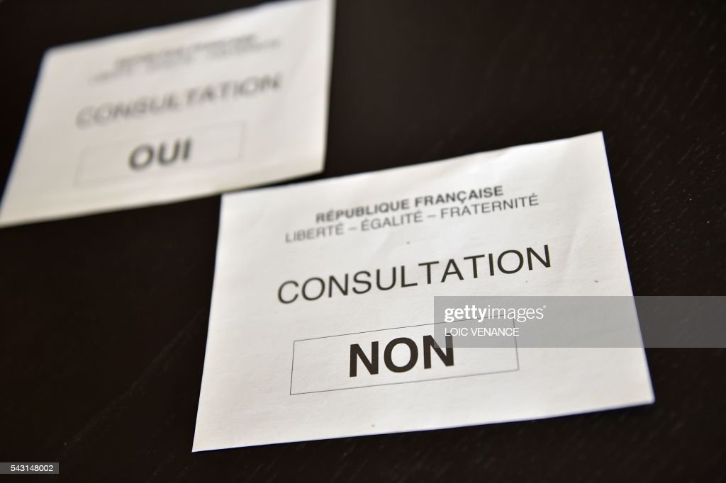 A picture taken on June 26, 2016, in Nantes shows ballots during a local referendum organized in Loire Atlantique regarding the transfer of the Nantes Atlantique airport to Notre-Dame-des-Landes. Nearly One million people living in France's Loire-Atlantique department are voting in a referendum which poses the question 'Are you in favour of the project to transfer the Nantes-Atlantique airport to the municipality of de Notre-Dame-des-Landes?' to voters. The referendum was organised by the French executive power hoping to find a solution to the issue which has dragged on for 50 years. / AFP / LOIC