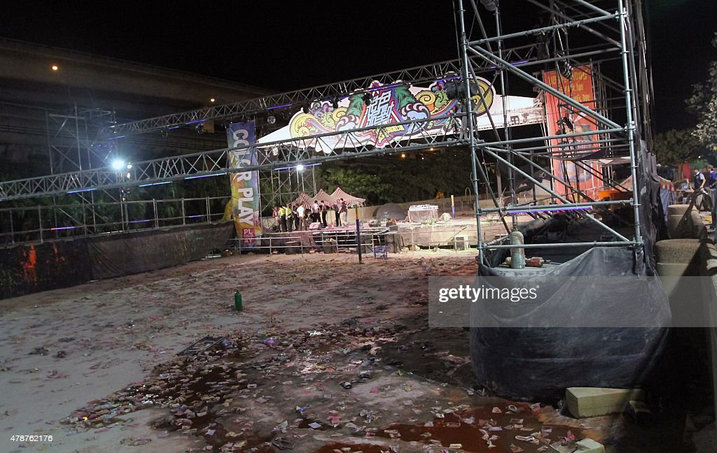 A picture taken on June 27 2015 shows the Formosa Fun Coast amusement park after an explosion in the Pali district of New Taipei City More than 200...