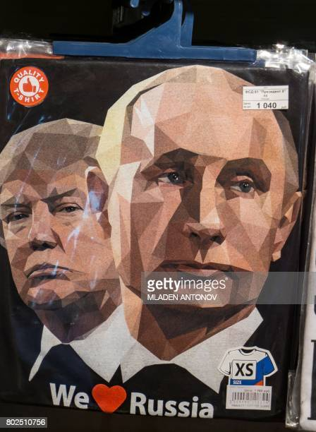 A picture taken on June 27 2017 shows a Tshirt featuring the US President Donald Trump and Russian President Vladimir Putin with a sign 'We Love...