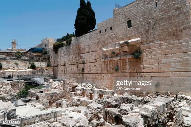 A picture taken on June 27 2017 shows the rightpart of the Western Wall taken from the archaeological site known as Robinson's Arch in the Old City...