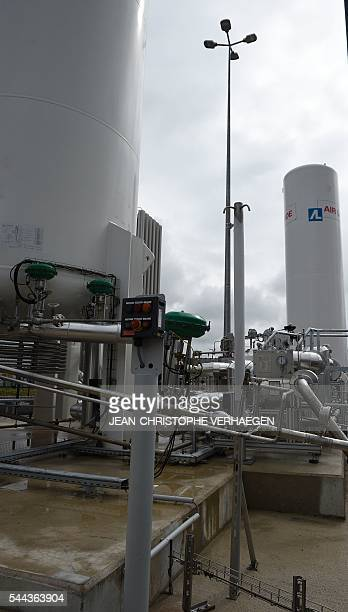 A picture taken on June 28 2016 shows a gas station of Air Liquide supplying liquefied natural gas compressed natural gas and liquid nitrogen in...
