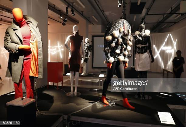 A picture taken on June 29 2017 shows fashion creations displayed during the Fashion Tech Festival at the Gaite Lyrique in Paris The Fashion Tech...