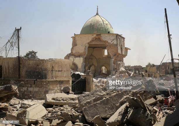 TOPSHOT A picture taken on June 29 shows the destroyed AlNuri Mosque in the Old City of Mosul during the ongoing offensive to retake the area from...