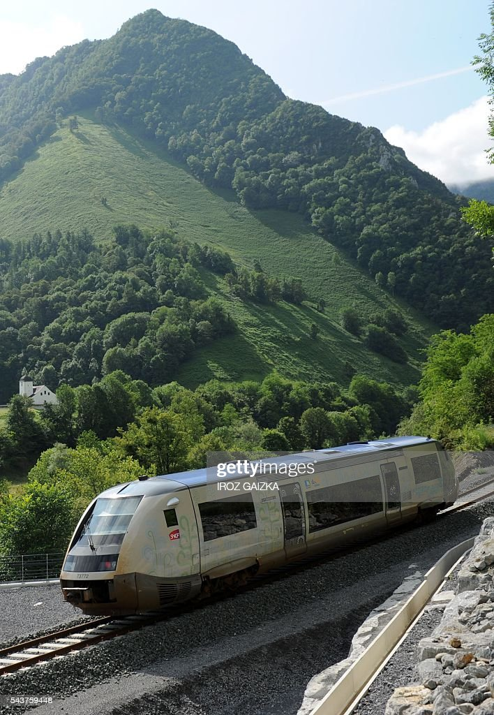 A picture taken on June 30, 2016 between Pau and Bedous, southwestern France, shows a train heading to Bedous, on the future Pau-Canfranc line. / AFP / Iroz Gaizka