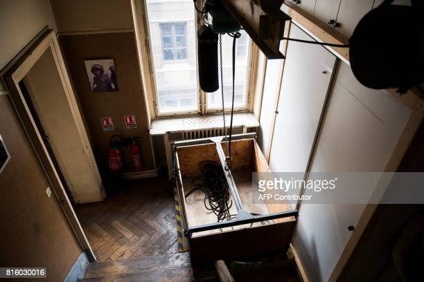 A picture taken on June 30 2017 shows the lift of the BRI at the Direction Regionale de Police Judiciaire de Paris also known by its address the '36...