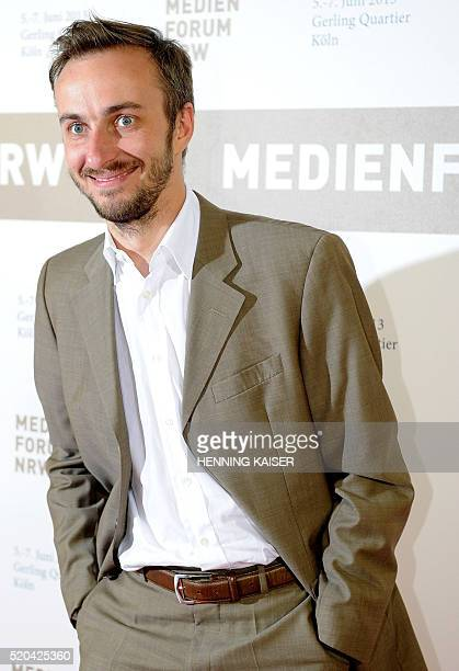 Picture taken on June 5 2013 in Cologne western Germany shows German comedian Jan Boehmermann Germany said on April 11 2016 it was reviewing a formal...