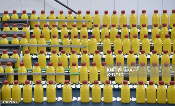 RABAT A picture taken on June 5 2015 shows bottles of margarine on the packaging line at the Unilever's factory in Rotterdam Unilever is a...
