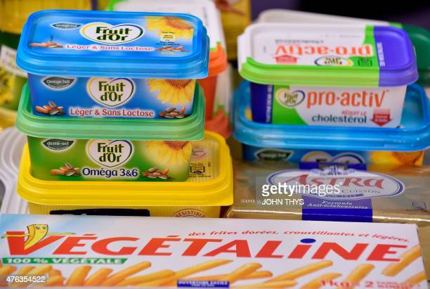 RABAT A picture taken on June 5 2015 shows margarines at the Unilever's factory in Rotterdam Unilever is a multinational company in the field of food...