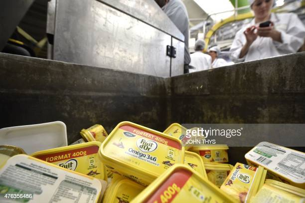RABAT A picture taken on June 5 2015 shows margarines in a trash can at the Unilever's factory in Rotterdam Unilever is a multinational company in...
