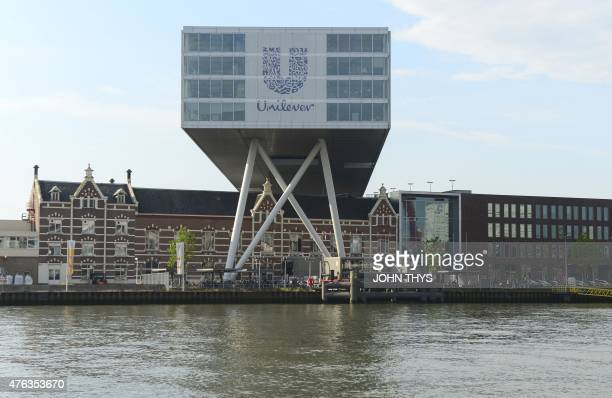 RABAT A picture taken on June 5 2015 shows the logo of Unilever at the headquarters in Rotterdam Unilever is a multinational company in the field of...