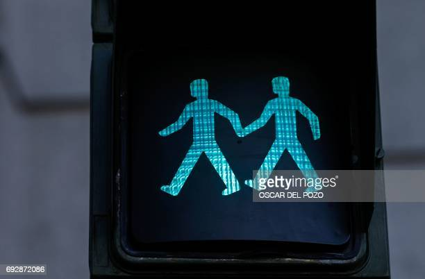 A picture taken on June 5 2017 shows a new green pedestrian crossing symbol depicting a samesex couple in Madrid as the capital will host this year's...