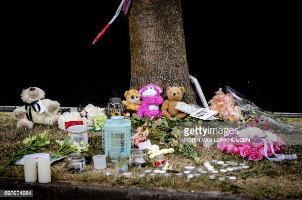 A picture taken on June 5 2017 shows candles flowers and other items laid by people near the spot where a 14yearold girl was found in a ditch on the...