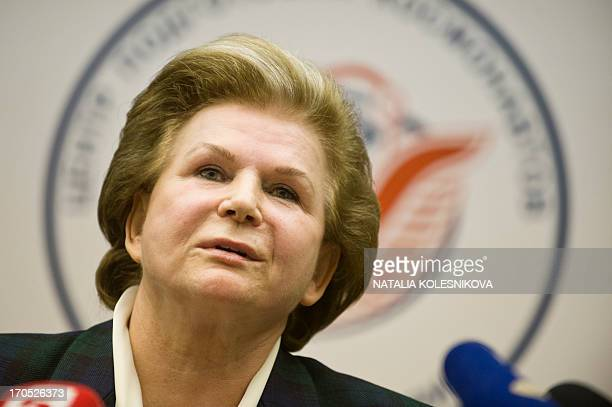 A picture taken on June 7 shows Soviet cosmonaut the first woman in space Valentina Tereshkova attending a press conference in Star City outside...