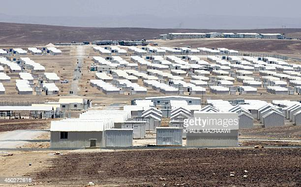 A picture taken on June 8 2014 in Azraq in the Jordanian eastern desert some 100 kilometres east of Amman shows the facilities housing Syrians...