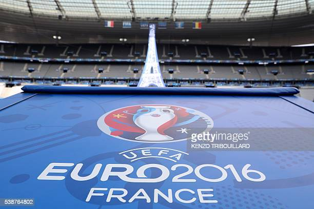 A picture taken on June 8 2016 shows a the logo of the EURO 2016 at the Stade de France in SaintDenis before the Euro 2016 opening match to be held...