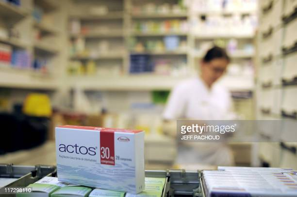 USE A picture taken on June 9 2011 in a pharmacy in Dijon eastern France shows a pack of Actos antidiabetic drugs Actos/Competact antidiabetic drugs...
