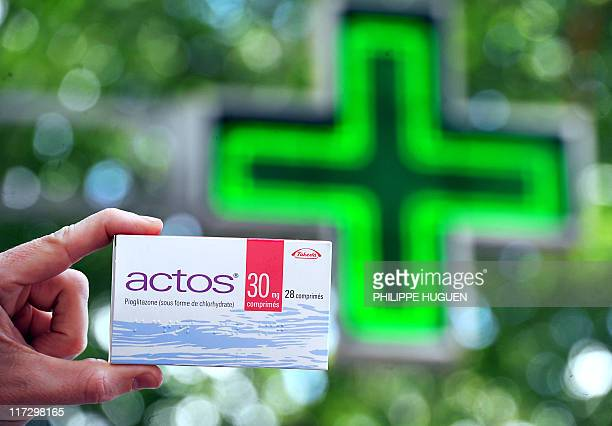 A picture taken on June 9 2011 outside a pharmacy of the northern city of Lille shows a pack of Actos antidiabetic drugs Actos/Competact antidiabetic...