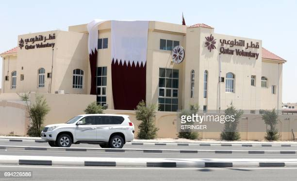 A picture taken on June 9 2017 shows a general view of the Qatar Voluntary building in the capital Doha Saudi Arabia Egypt the UAE and Bahrain...
