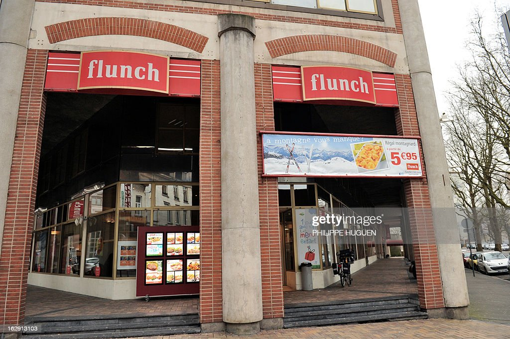 A picture taken on March 1, 2013 in Lille shows the facade of a Flunch restaurant. Flunch suspended supplying meat from Castel Viande, after this supplier was investigated for deception on the origin of the meat. AFP PHOTO PHILIPPE HUGUEN