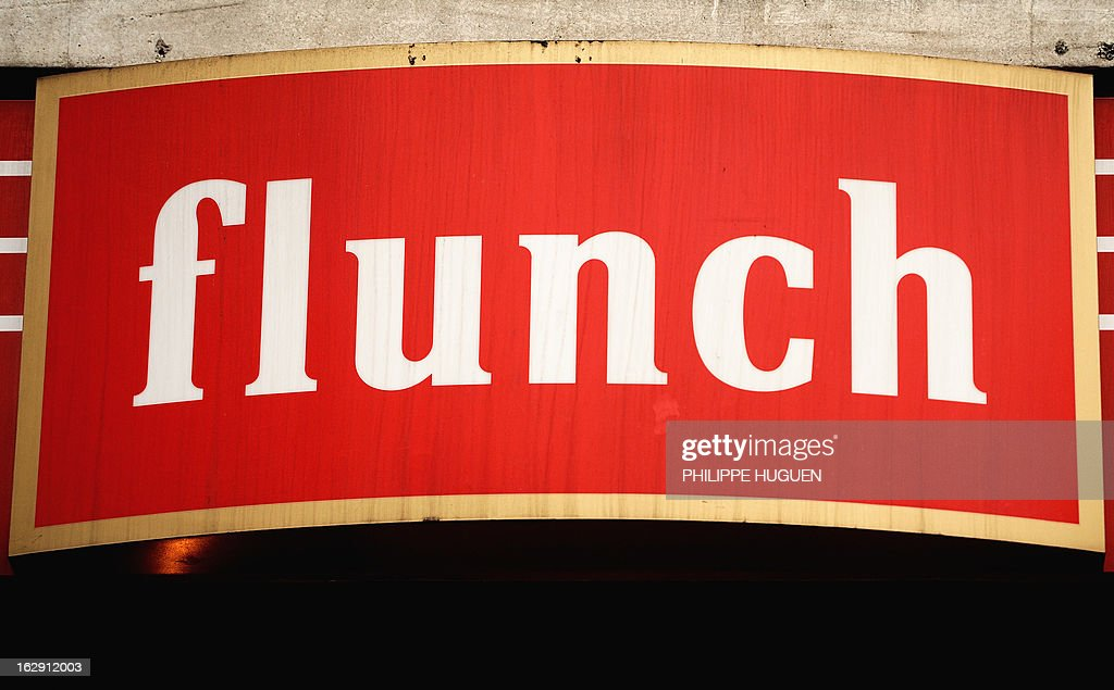 A picture taken on March 1, 2013 in Villeneuve-d'Asq shows the logo of Flunch restaurants group. Flunch suspended supplying meat from Castel Viande, after this supplier was investigated for deception on the origin of the meat.