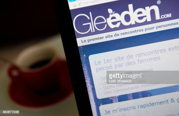 A picture taken on March 1 2015 in Paris shows the frontpage of the extramarital dating website Gleeden AFP PHOTO / LOIC VENANCE