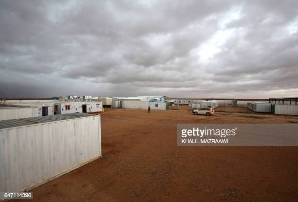 A picture taken on March 1 2017 shows a general view of a UNoperated medical clinic immediately on the Jordanianside of the border with Syria near...