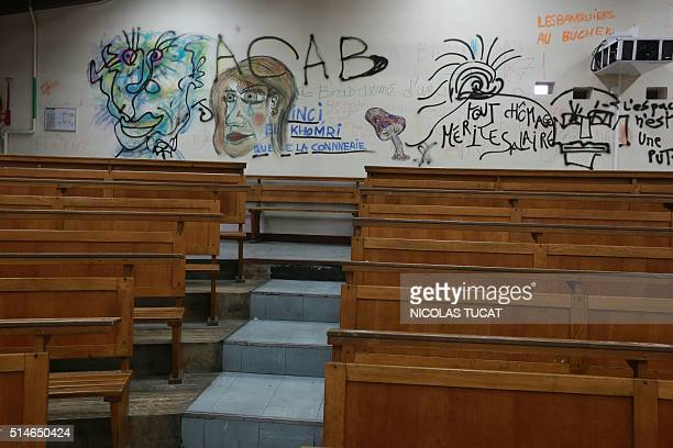 A picture taken on March 10 2016 in Bordeaux southwestern France shows graffitis inside the Bordeaux University which has been occupied and partially...