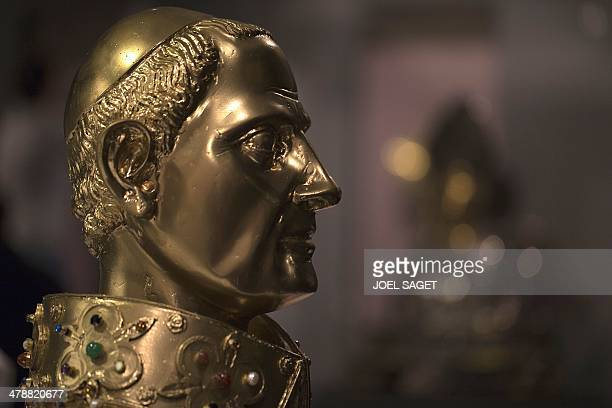 A picture taken on March 14 2014 at the Maillol museum in Paris shows a reliquary bust of San Gennaro dating from 1305 The exhibition 'The treasures...