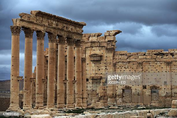 A picture taken on March 14 2014 shows the external courtyard of the sanctuary of Baal in the ancient oasis city of Palmyra 215 kilometres northeast...
