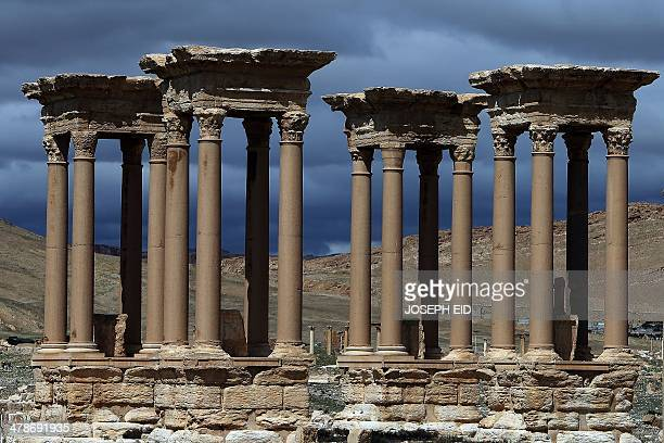 A picture taken on March 14 2014 shows the he Tetrapylon which was reconstructed after 1963 by the Directorate of Antiquities of Syria in the ancient...
