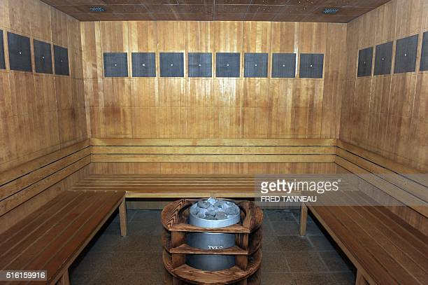 A picture taken on march 17 2016 shows a sauna in the Hotel L'Agapa in PerrosGuirec western France The venue will host Albania's national football...