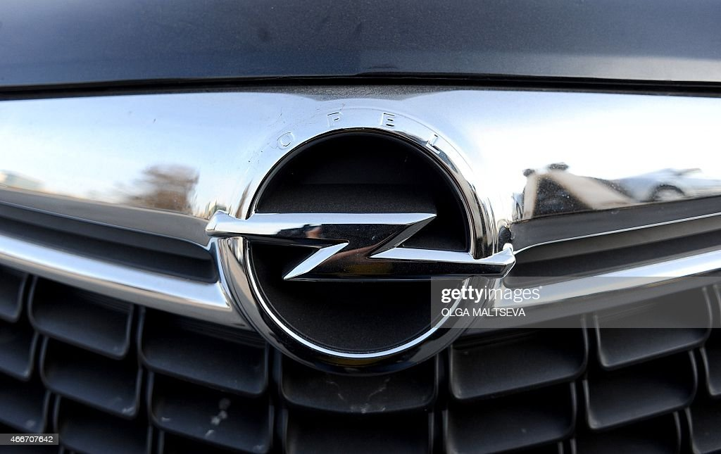 A picture taken on March 18 2015 in Saint Petersburg shows the logo of an Opel car Opel the European arm of US auto giant General Motors announced on...