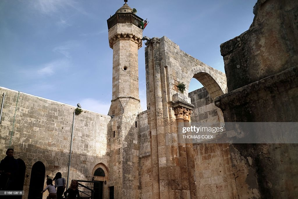 A picture taken on March 19 2016 shows the courtyard of the Nabi Yahya Mosque a former crusader cathedral built during the Byzantine era in...