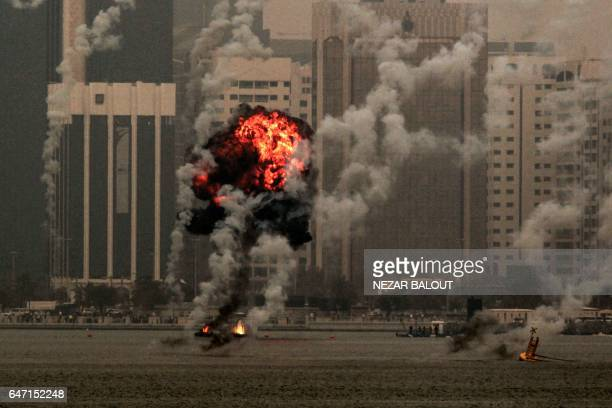 A picture taken on March 2 2017 in Abu Dhabi shows a simulated explosion occurring off the Abu Dhabi corniche during the 'Union Fortress Live...