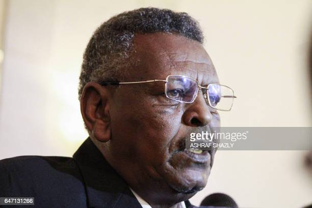 A picture taken on March 2 shows newlyswornin Sudanese Prime Minister Bakri Hassan Saleh speaking to reporters in the capital Khartoum The 68yearold...
